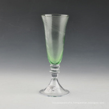 Mouth Blown Green Embossed Glass Champagne Flute