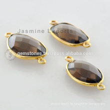 Vermeil Gold Plated Smoky Quartz Lünette Connector Link