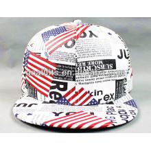 Hochwertige gefälschte lederne flache Brim Hut mit Druck