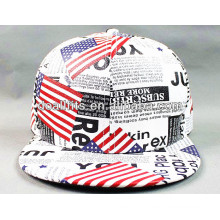 Alta qualidade falso couro Flat Brim Hat com impressão