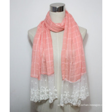 Lady Fashion Cotton Polyester Voile Lace Scarf (YKY1088)