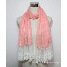 Леди мода хлопок полиэстер шнурок Маркизета шарф (YKY1088)