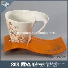 Fine porcelain decorative porcelain tea set flower decal, big cup set, color mug set
