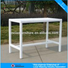 Novo produto branco retângulo jardim rattan bar mesa