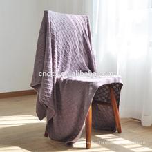 16JWB05 cashmere cable knit diamond shape throw blanket