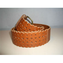 Tan Genuine leather for belts Perforated women's elastic stretch belts