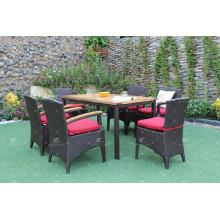 Conjunto de jantar de poli-rattan de qualidade superior Mobília de vime de jardim