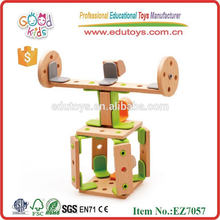 New Product Design Wooden Helicopter DIY Toys Size 30*24*6 cm OEM Intelligent DIY Construction Toys for Kids EZ7057