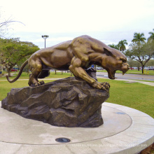 Escultura de bronze Panther Cougar mascote estátua