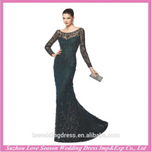 LE0004 Sexy elegant embroidered sheer crystal beaded see through wholesale luxury bandage dress black long sleeve evening dress