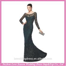 LE0004 Sexy elegante bordado cristal puro com contas ver através de atacado venda de luxo vestido preto vestido de noite manga longa