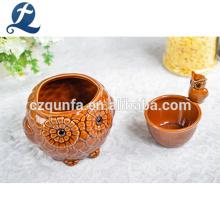 Decoração ao ar livre interior moderno forma coruja pequeno vaso de cerâmica