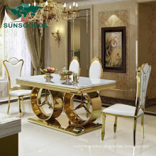 New Design Stainless Steel Hotel Banquet Wedding Dining Table with Marble Top