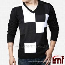 Suéter de cachemira puro de cheque de alta calidad masculino