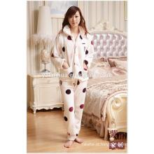 Homewear de flanela quente feminino pijama
