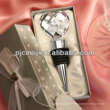 Fantaisie usine en gros en forme de coeur bouchon de vin en cristal COz018
