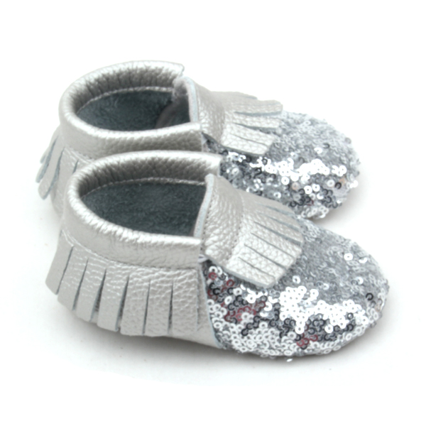 Wholesale Fancy Shoes Shining Silver Sequin Baby Moccasins