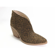 Ladies Leopard Microfiber High Heel Ankle Boots