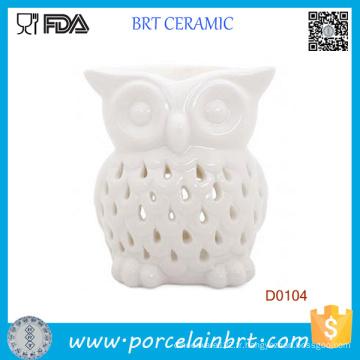 Brûleur à l'huile en céramique d'Aromatherapy de fonte de bougie blanche