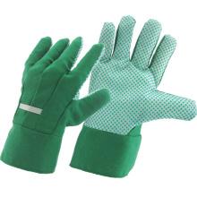 Green Drill algodão tecido PVC Dotted Garden Luvas de Trabalho Segurança Industrial (41004)