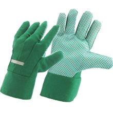 Verde de perforación de algodón de tela PVC punteado jardín de seguridad industrial de trabajo guantes (41004)
