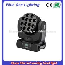 12 * 10 watt RGBW 4-em-1 conduziu a luz principal movente