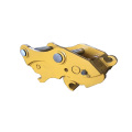 Hydraulic excavator quick coupler hitch with double lock
