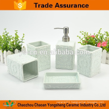 Hot-Sales ceramic bathroom accessory set with classic relief