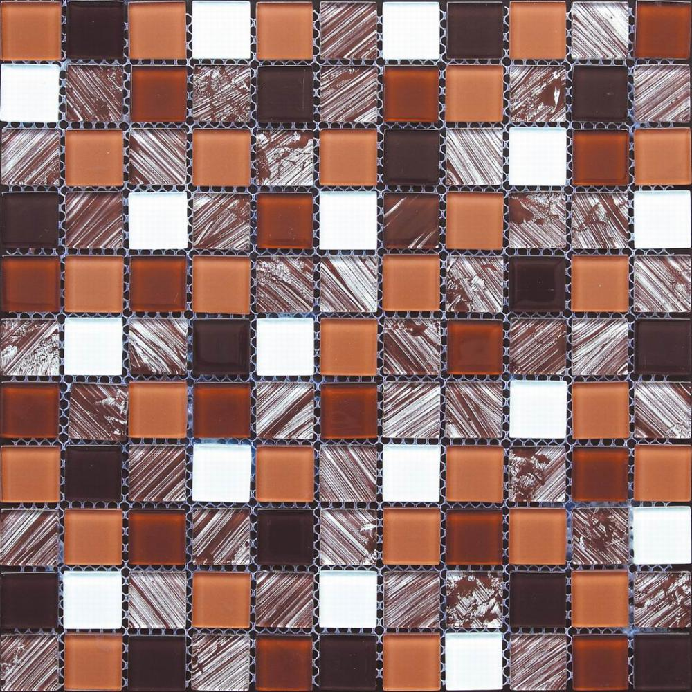 Brown Hand Painting Glass Wall Paving Mosaic Tile