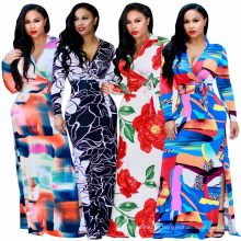 Мода лето цифровой печать цветочные женщин платье с длинным рукавом вечернее платье