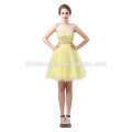 Robe courte de mariage de fée de couleur jaune de conception nouvelle mode hors épaule robe de mariage en gros