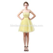 Diseño corto vestido de novia de hadas de color amarillo nueva moda fuera del hombro vestido de boda al por mayor