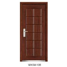 Fornecedor especializado Porta de aço em madeira (WX-SW-108)