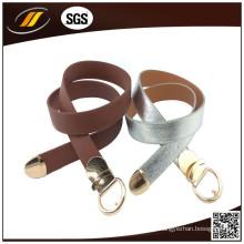 New Fashion 3.5cm Wide Gold Buckle Cinto de couro puro para senhora