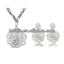 Cheap white gold jewelry rose flower shape costume jewelry set