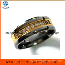 Shineme High Quliat Titaniumr Gold Plate Ring with 9 Stones