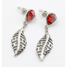 Boucles d'oreilles à la feuille en acier inoxydable de haute qualité avec pierres
