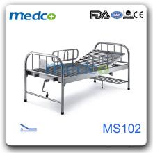 MS102 Lit d'hôpital en acier inoxydable avec jambe
