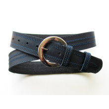 D shape buckle mens nave blue belt with top stitching