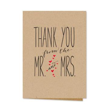 36ps Sr. e Sra. Thank You Notecards, Em Branco Dentro com Envelopes Kraft Mais Recentes Modelos De Cartão De Casamento