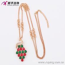 Chaîne de collier de bijoux en cristal CZ coloré rose plaqué or avec cygne -42893