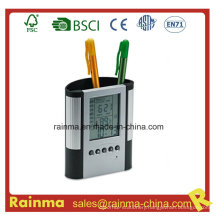 Plastic Pen Holder with Clock. Alarm& Weather Station