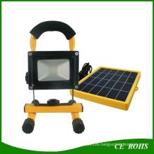 2 años de garantía lámpara de pesca portátil 10W luz de inundación solar LED con panel de energía solar