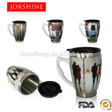 450ML Ceramic Mug with handle lid,Coffee Mug,Travel Mug