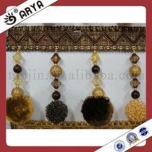 Frange en perles frangées Décoration avec des perles et des dépendances Pompom pour la tapisserie de rideaux Valances Mosquito Net