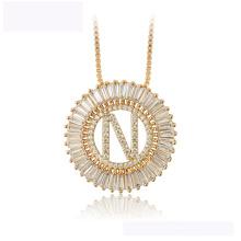 34437 venta al por mayor collar de moda xuping 18K color oro letra N lujoso collar hermoso