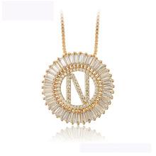 34437 оптовые xuping мода ожерелье из 18-каратного золота буква N роскошное красивое ожерелье