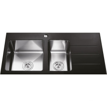 G2901 Double Bowls Glass Stainless Steel Sink