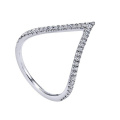 V Stlye 925 Sterling Silver Ring Jewelry with Micro CZ