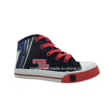 Zapatillas de deporte de los zapatos de los niños del alto tobillo de la historieta fresca de la moda (X167-S & B)